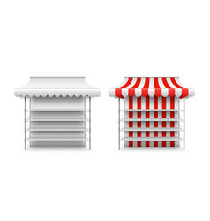 shop stall mockup isolated 3d market awning fair vector image