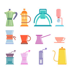 Soft color flat coffee manual brewers set vector