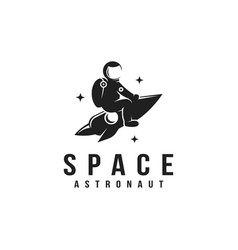 Space astronaut riding a rocket mascot logo vector