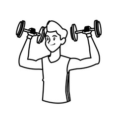 sport man weight lifting fitness active lifestyle vector image