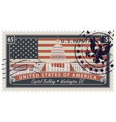 Stamp with image of us capitol in washington dc vector