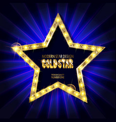Star retro light banner vector