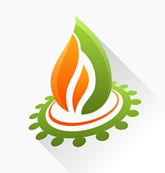 symbol fire with gear Orange and green flame glass vector image