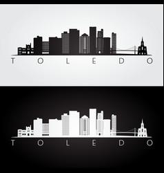 toledo usa skyline and landmarks silhouette vector image
