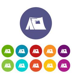 tourist tent icons set color vector image