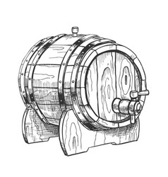 vintage drawn barrel with tap for liquid vector image