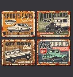 vintage vehicles and sport cars rusty plates vector image