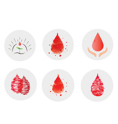 Volunteer blood donation icons set template of vector