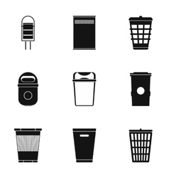 Waste rubbish icons set simple style vector