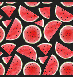 Watercolor watermelon seamless pattern vector
