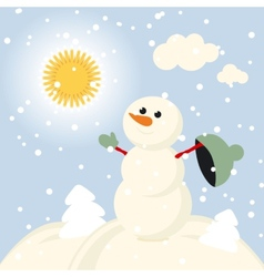 Winter Fun snowman kids 2015 retro vector image