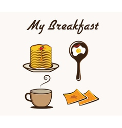 with breakfast items vector image