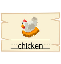 wordcard design for chicken in the nest vector image