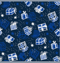 xmas gift box seamless pattern in naive style vector image
