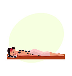 young woman getting hot stone therapy massage in vector image