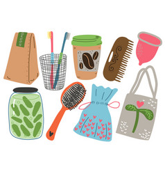 zero waste set reusable objects for kitchen vector image