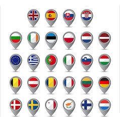 3D pointer with the flags of European Union vector image