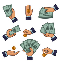 hand and money banknotes and golden coins dollars vector image