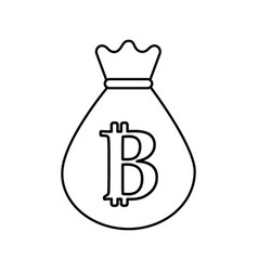 line bag with bitcoin currency digital symbol vector image