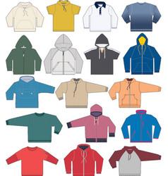 sweatshirt hoodie and fleece templates collection vector image