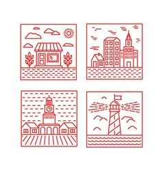 set of city in trendy linear style vector image vector image
