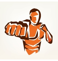 stylized boxer silhouette boxing symbol vector image
