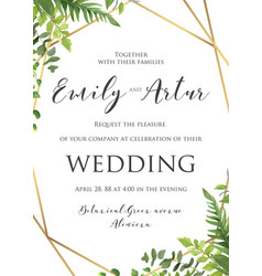 Wedding floral invitation invite save the date vector