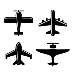 Different Airplane Icons Set vector image vector image