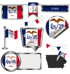 Glossy icons with iowan flag vector