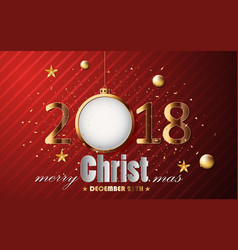 happy new year and merry christmas gold with card vector image