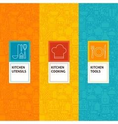 Line Kitchen Cooking Patterns Set vector image