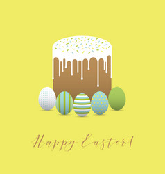 Painted eggs with easter cake hapy easter vector