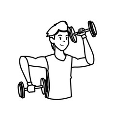 sport man dumbbell fitness active lifestyle line vector image vector image
