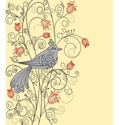 Abstract floral background with beautiful bird vector image