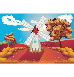 Autumn Landscape with Windmill vector image
