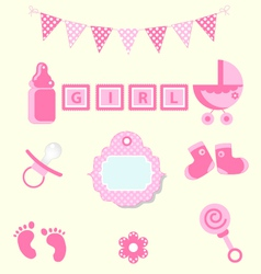 Baby girl set of design element for scrapbook vector image