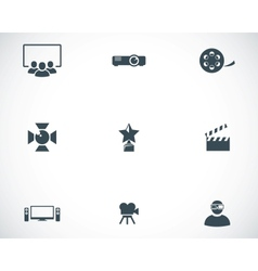 black movie icons set vector image vector image