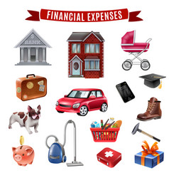 family expenses flat icons collection vector image