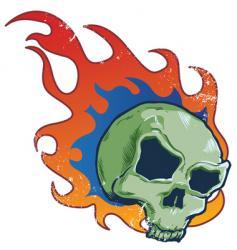 flaming skull tattoo style illustratio vector image