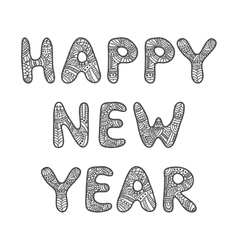 Happy New Year lettering Adult coloring book vector image vector image