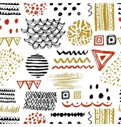 Seamless pattern with hand drawn ethnic motifs vector image vector image