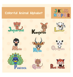 Animal abc from letter j - r vector