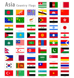 Asian national flags set vector