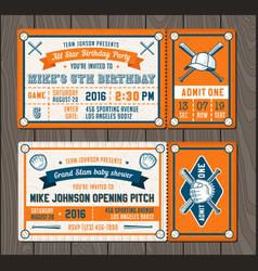baseball event invites set 2 vector image
