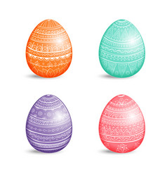 Beautiful set of colored easter eggs with ornament vector