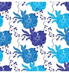 Blue Oriental Kimono Peony Seamless Pattern vector