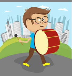 Boy playing drum marching along the street vector