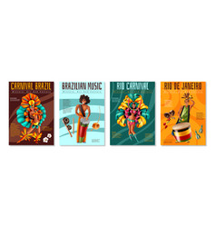 Brazil carnaval posters set vector