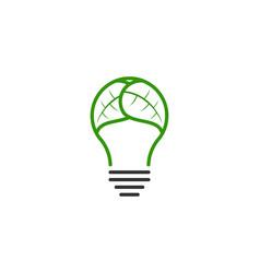 bulb and leaf logo design inspiration vector image