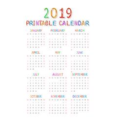 calendar 2019 with happy children vector image
